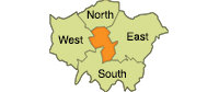 A picture showing repair service coverage areas including central north east south and west london
